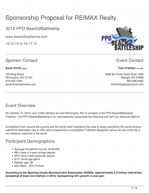 Cover letter for event sponsorship proposal